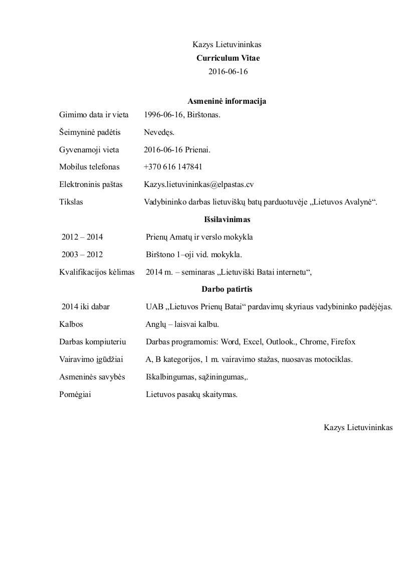 Cv pavyzdziai lietuviu kalba