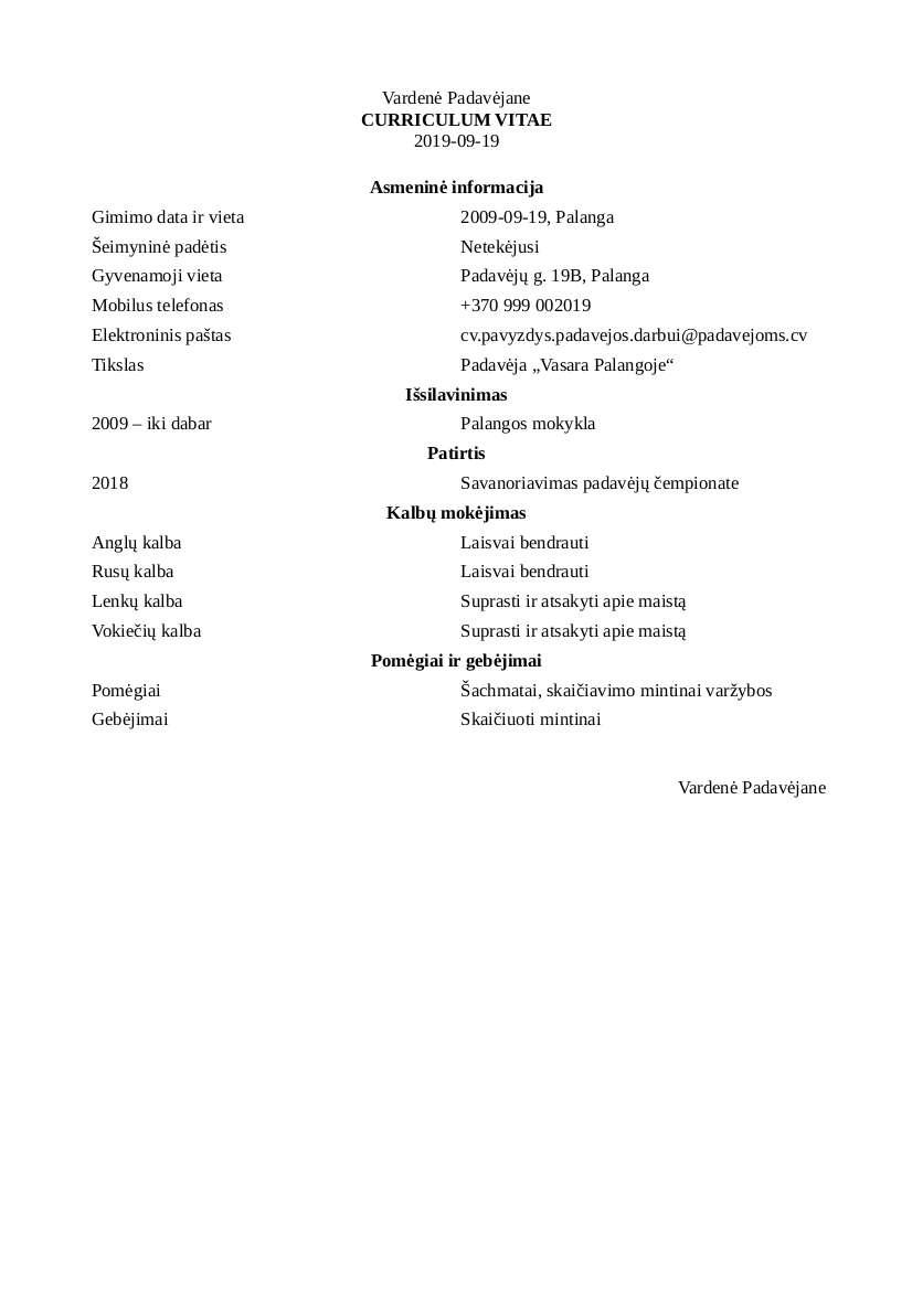 CV Pavyzdys Padavėjos Darbui