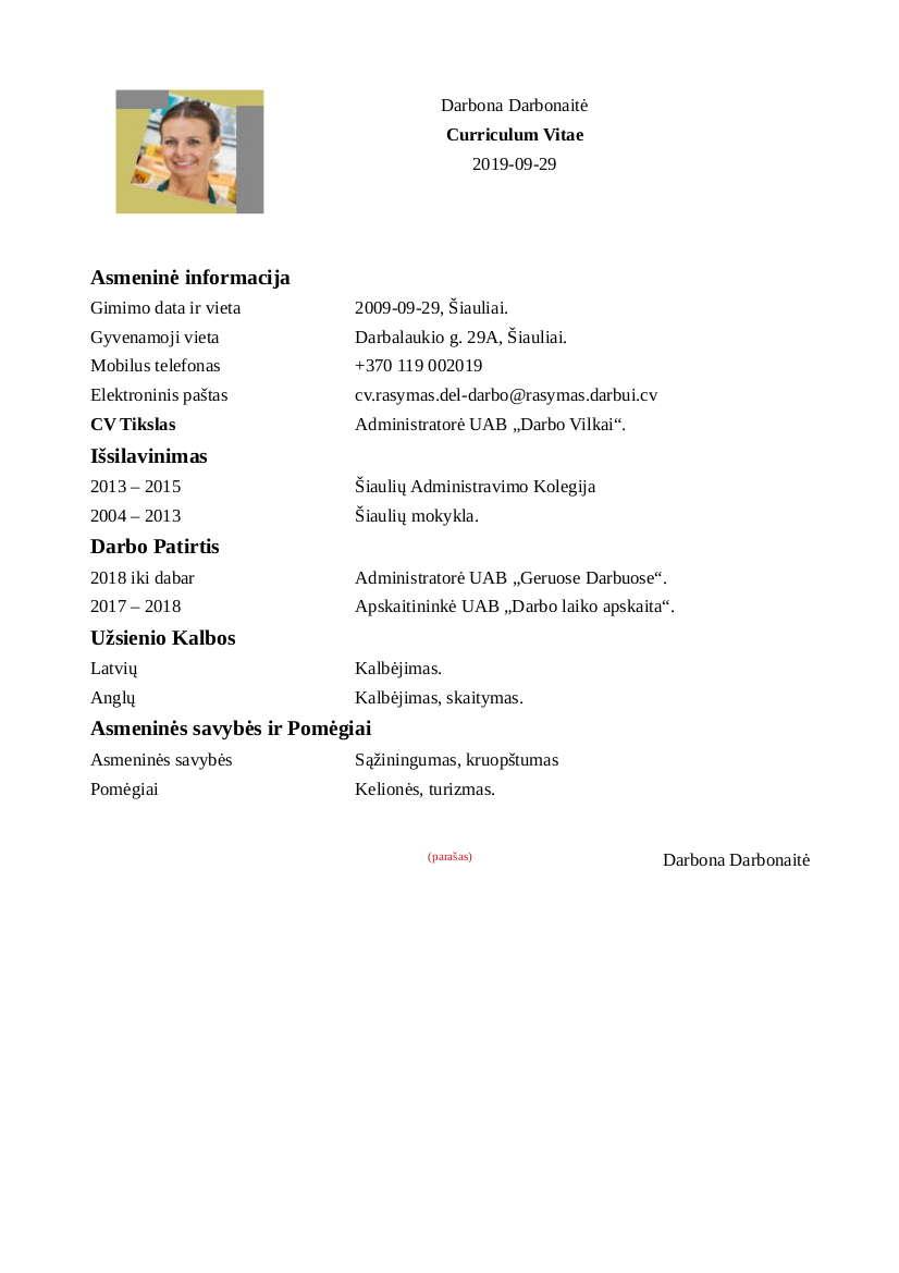 CV Rašymas dėl Darbo
