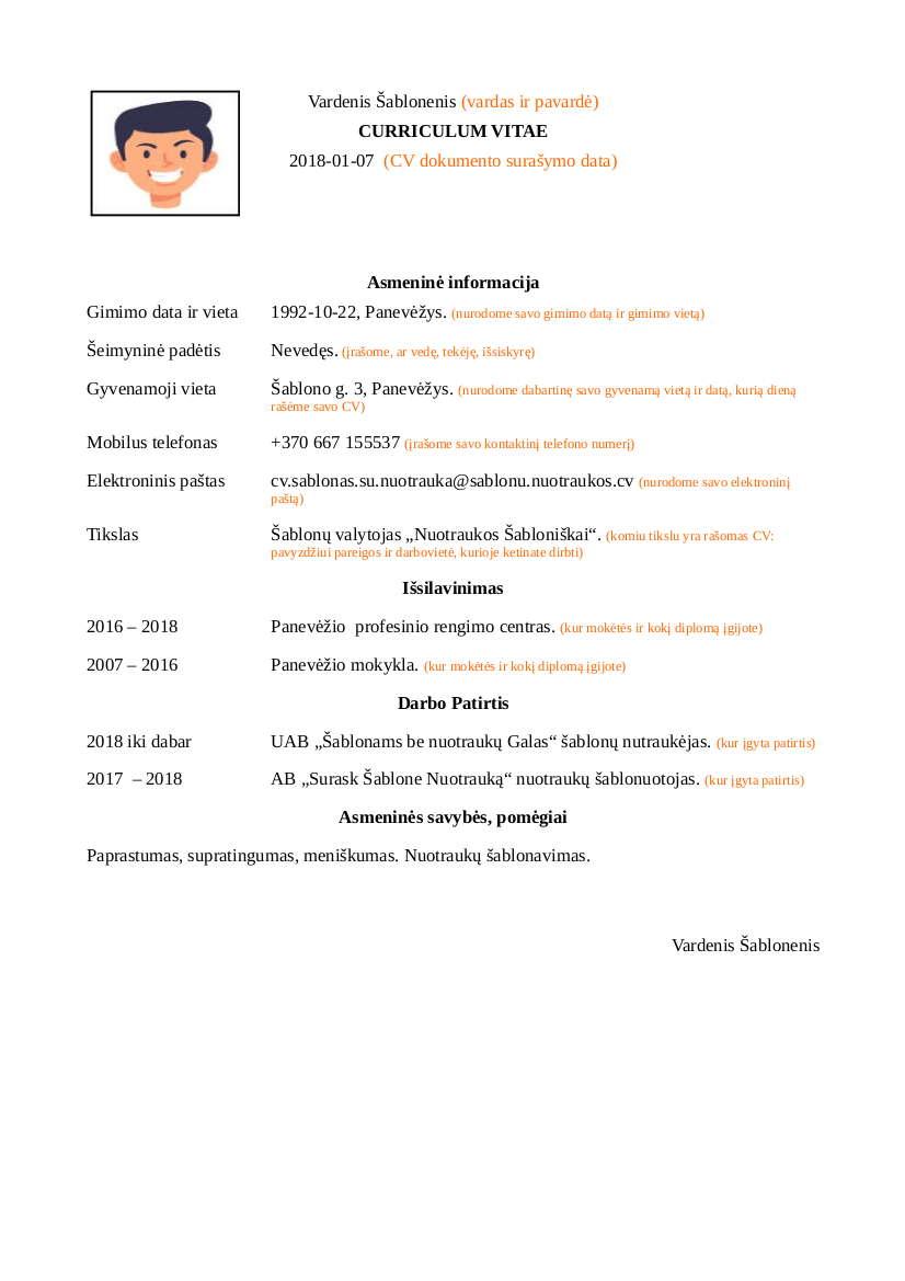 CV Šablonas su Nuotrauka