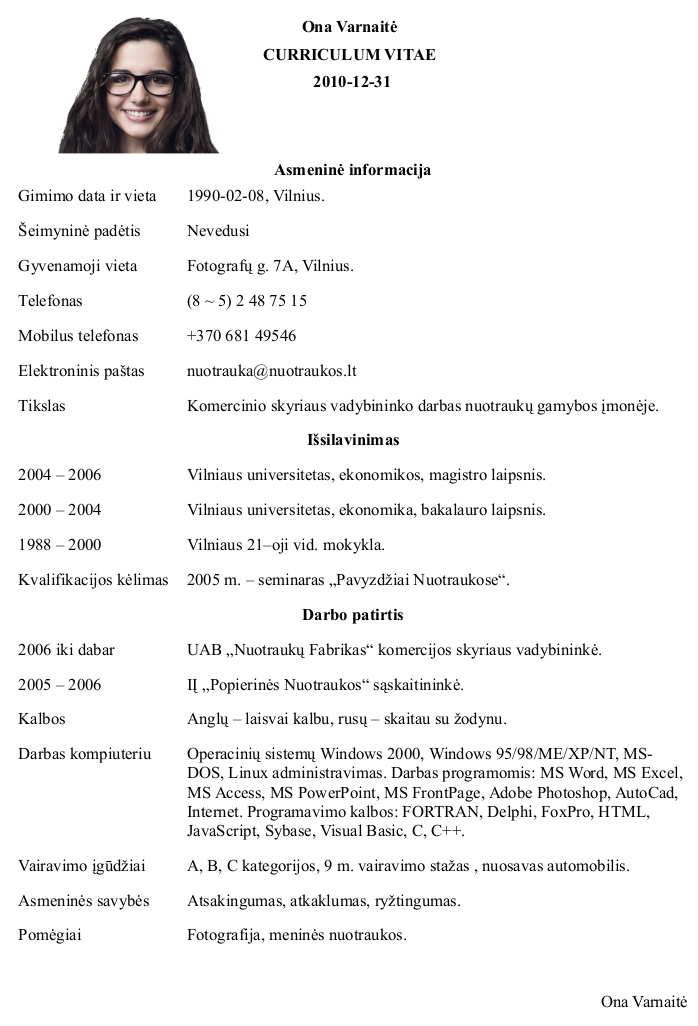 CV su Nuotrauka Pavyzdys