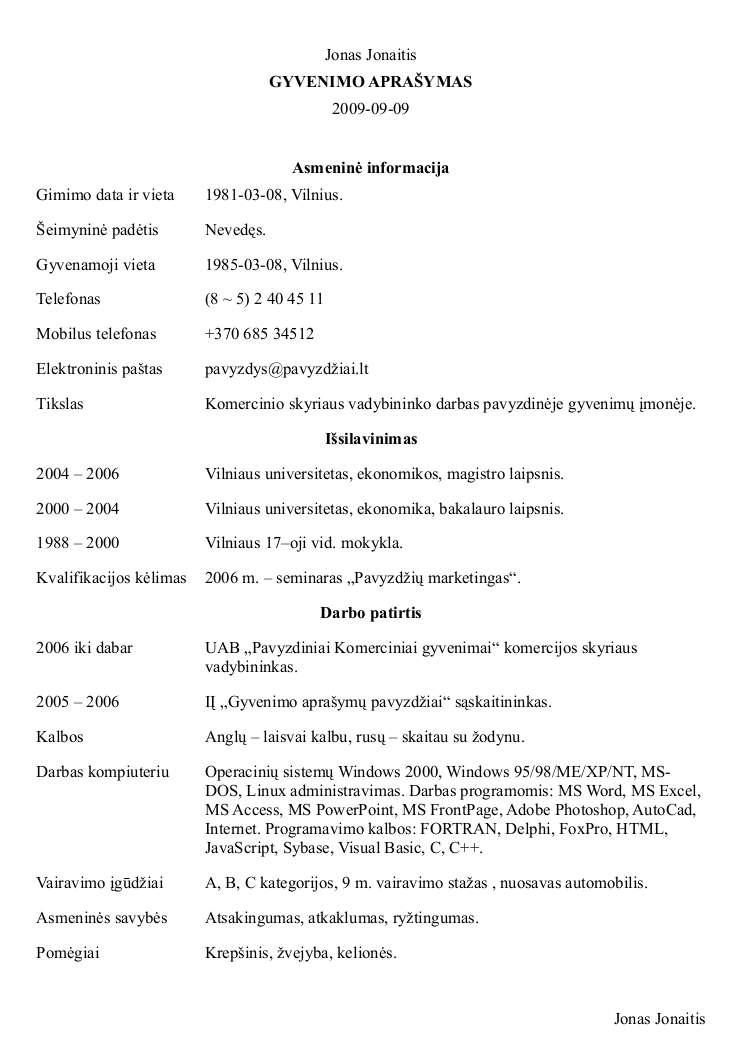 gyvenimo apra u0161ymas  u2013 word doc pdf  u2013  u0161ablonai