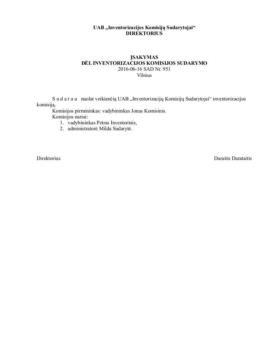 Įsakymas dėl inventorizacijos komisijos sudarymo