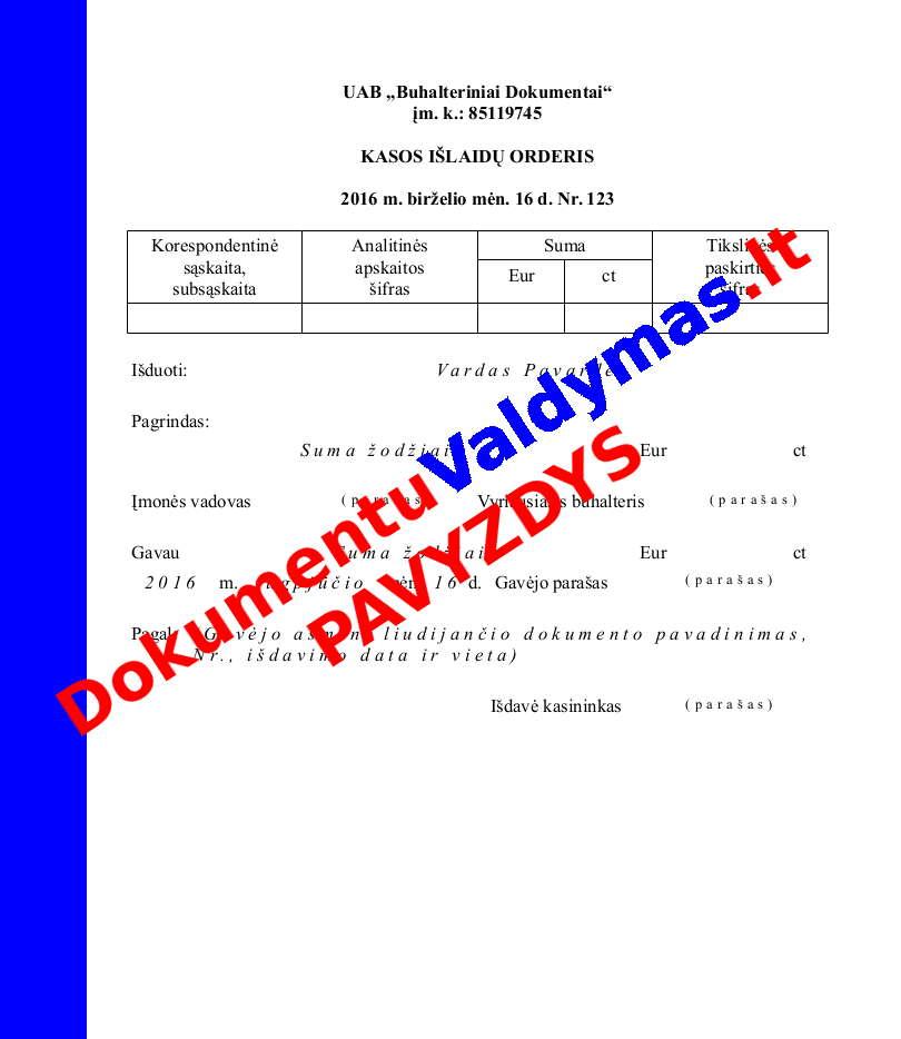 Kasos išlaidų orderis pavyzdys