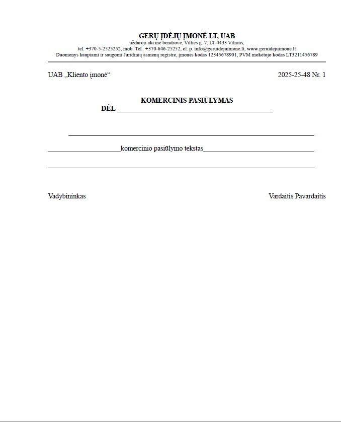 Komercinis pasiūlymas forma