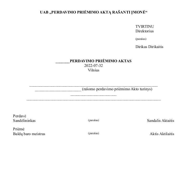 Perdavimo priėmimo aktas