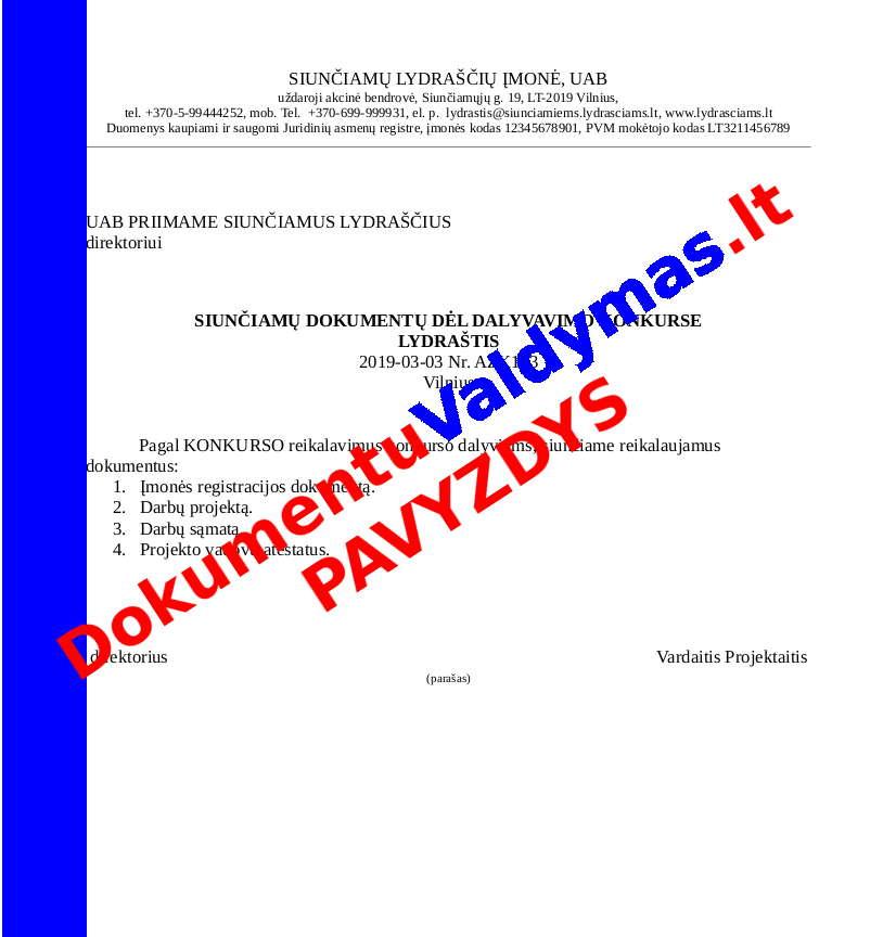 Siunčiamų Dokumentų Lydraštis pavyzdys